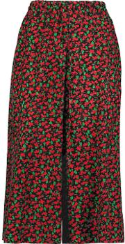 Woman Floral Print Silk Culottes Red Size 38