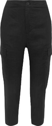 . Woman Linen Blend Twill Tapered Pants Black Size Xs