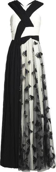 Woman Embroidered Tulle And Pleated Chiffon Gown Black