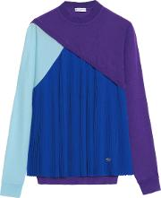 Woman Pleated Silk Paneled Wool, Cashmere And Silk Blend Fleece Top Purple Size 42