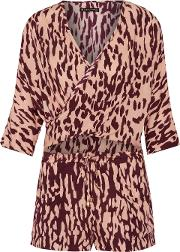Woman Bali Margot Cutout Wrap Effect Printed Voile Playsuit Burgundy