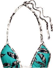 Woman Kelp Mini Pipe Printed Triangle Bikini Top Turquoise