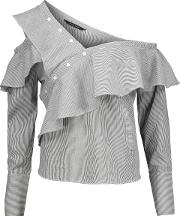 Woman Anabela One Shoulder Ruffled Striped Cotton Blouse Charcoal