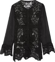 Woman Ruby Paneled Crochet Knit And Georgette Top Black Size S