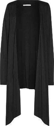 &reg Woman Asymmetric Pima Cotton And Modal Blend Jersey Robe Black