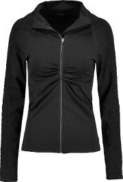 &reg Woman Vera Croc Effect Trimmed Stretch Jersey Jacket Black