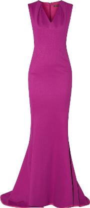 Woman Fluted Pleated Ponte Gown Magenta Size 14