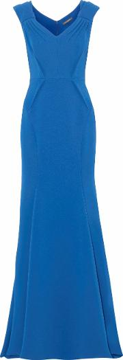 Woman Pleated Bonded Crepe Gown Blue Size 12