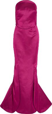 Woman Strapless Double Faced Duchesse Silk Satin Gown Magenta Size 10
