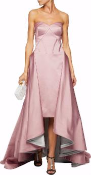 Woman Strapless Draped Silk Faille Gown Baby Pink Size 10