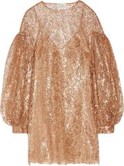 Woman Lavish Metallic Lace Mini Dress Bronze
