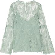 Woman Master Open Knit Trimmed Corded Lace Blouse Mint