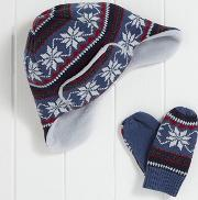 Boys Fairisle Hat And Mitts Set 1 6yrs