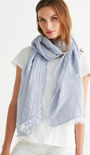 Fine Striped Scarf With Linen