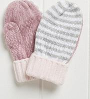 Girls Contrast Stripe Mittens 1 6yrs