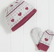 Girls Heart Fairisle Hat And Mitts Set 1 6yrs