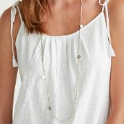 Knotted Bead Disc Necklace
