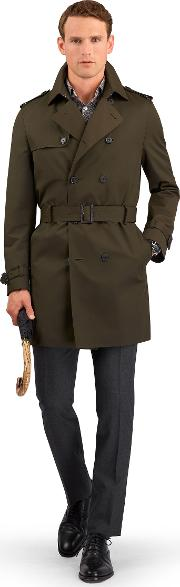 Asquith Slim Fit Trench Coat With Button Out Gilet In Olive Cotton Blend