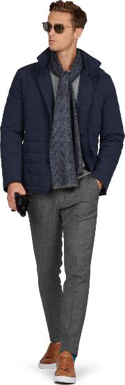 Barrington Slim Fit Quilted Jacket In Navy
