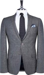 Bay Grey Prince Of Wales Check Skinny Fit Suit Jacket