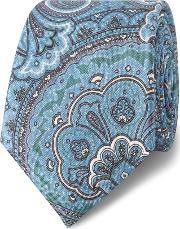 Blue And Green Large Paisley Silk Slim Tie
