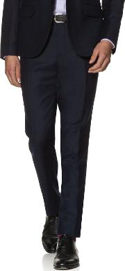 Bradman Navy Textured Slim Fit Infinity Machine Washable Trousers