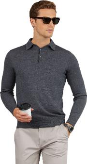 Cashmere Silk Blend Grey Long Sleeve Slim Fit Polo