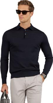 Cashmere Silk Blend Navy Long Sleeve Slim Fit Polo