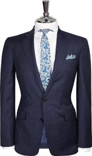Chelsea Slim Fit Suit Jacket In Navy Micro Check Italian Zegna Cloth