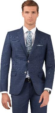 Designed In Biella Peacock Slim Fit Jacket In Blue Check