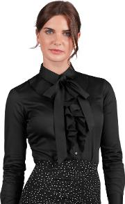 Fitted Black Pussybow Cotton Round Collar Blouse