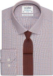 Fitted Orange And Navy Micro Check Shirt Button Cuff