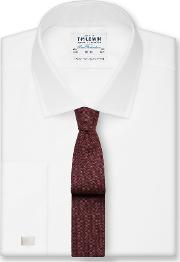 Fitted White Royal Oxford Double Cuff Shirt