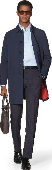 Fitzroy Slim Fit Rain Mac In Navy