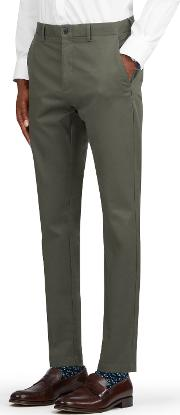 Hiddleston Chino In Olive Larusmiani Mill Cotton Blend