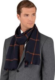 Navy And Orange Window Pane Check Merino Wool Scarf