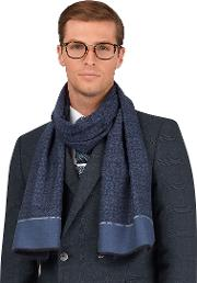 Navy Blue Geometric Cashmink Lightweight Scarf