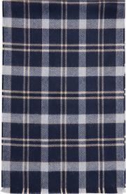 Navy Brown Tartan Check Scarf