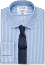 Non Iron Blue Overstripe Slim Fit Shirt