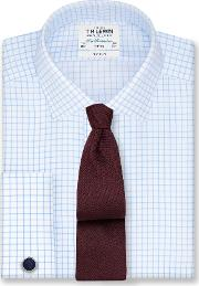 Non Iron Light Blue Check Fitted Shirt