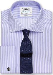 Non Iron Lilac Bengal Stripe Fitted Shirt