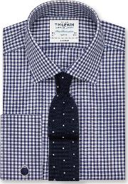 Non Iron Navy Gingham Slim Fit Shirt
