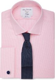 Non Iron Pink Dogtooth Fitted Shirt