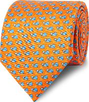 Orange And Blue Spouting Whale Print Silk Tie