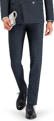Ovett Skinny Fit Power Stretch Trousers In Navy Check Merino Wool Blend