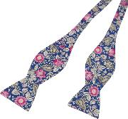 Pink And Blue Floral Print Self Tie Bow Tie