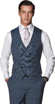 Puccini Slim Fit Waistcoat In Blue Puppytooth Zegna Wool Blend