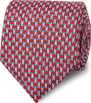 Red Figaro Chain Print Silk Tie