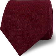 Red Textured Silk And Wool Tie