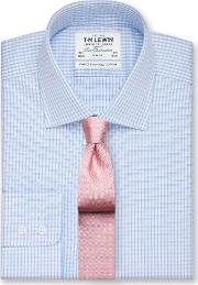 Slim Fit Blue Check Twill Button Cuff Shirt